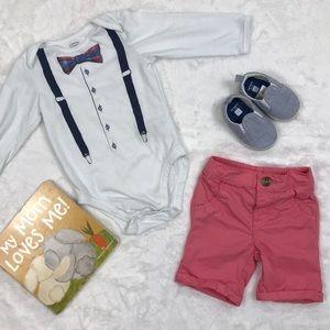 Bow tie and Suspenders Long Sleeve Onesie & Shorts